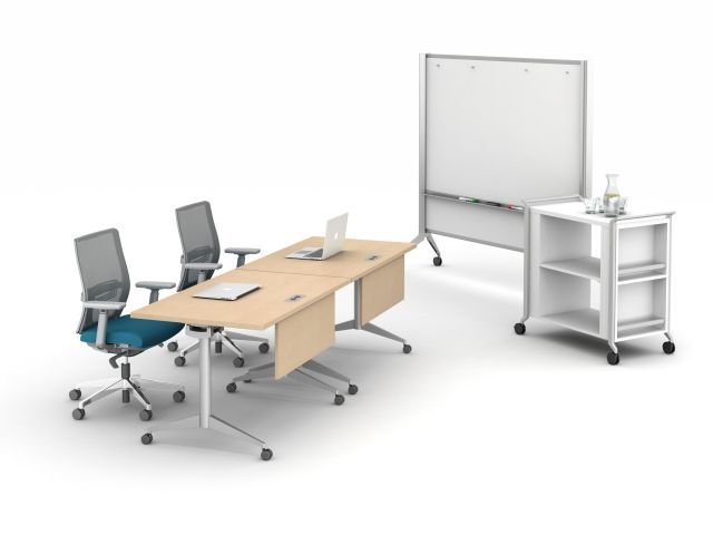Day to Day Flip Top Table with Devens Seating, Mobile Whiteboard and Hospitality Cart