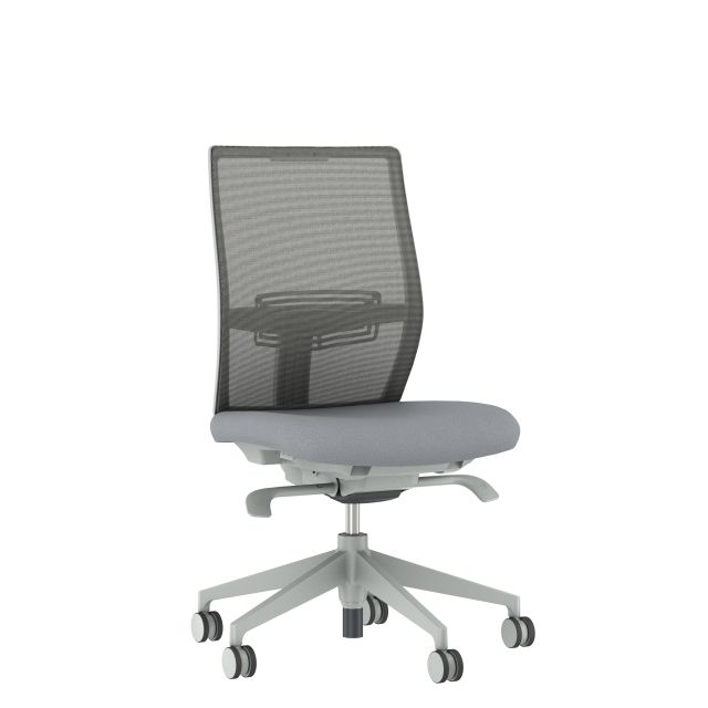 Devens Armless with Grey Base, Grey Mesh and Grey Seat, Front 3/4 View