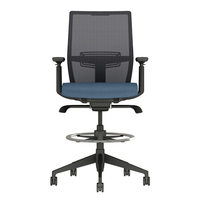 Devens Stool with Black base and frame, black mesh and Guilford Timeless Marina Seat Fabric, front view