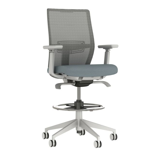 Devens Stool, Grey Base and Frame, 4D Arms, Grey Solid Mesh, Guilford Openhouse Quarry Blue Seat, 3/4 view