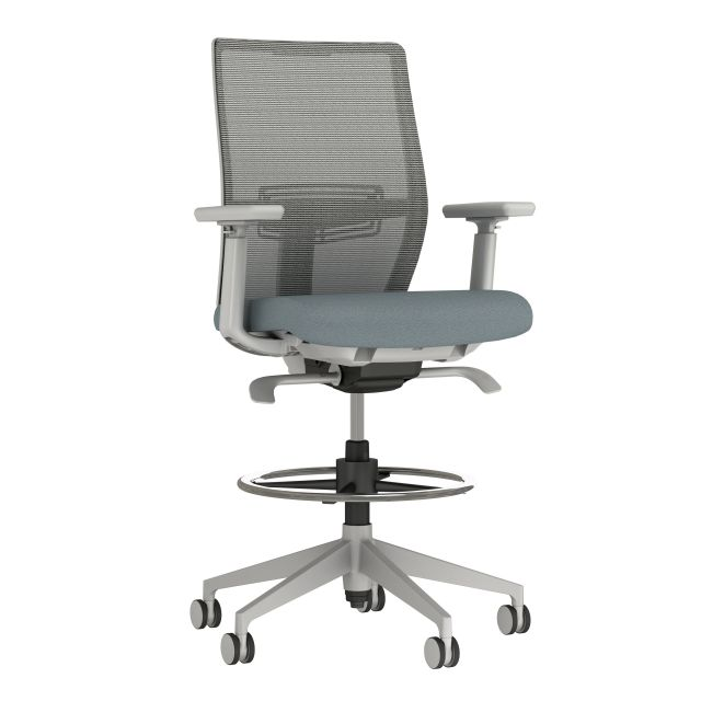 Devens Stool with Grey base and frame, Grey mesh and Durdle Smoke Blue Seat Fabric, 3/4 view