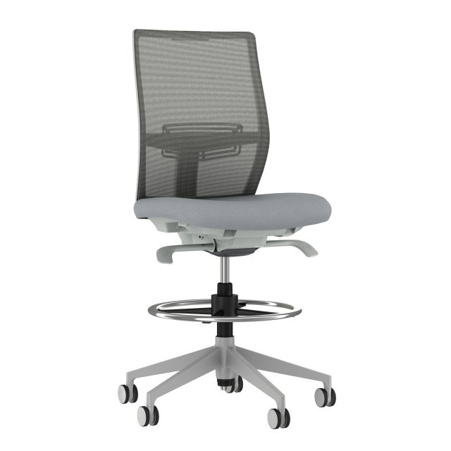 Devens Armless Stool with Grey Base, Grey Mesh and Grey Seat
