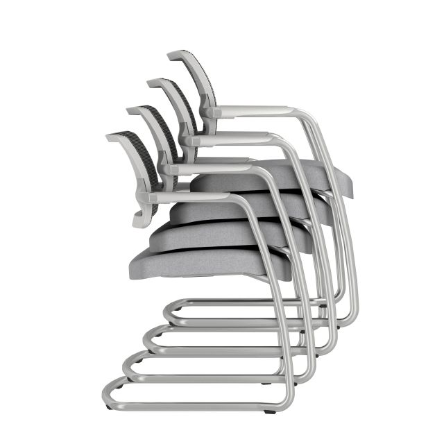 Devens Side Chair in Express Grey Stacked 4 high