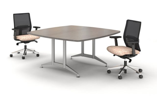 Day to Day Square Table with 2mm edge with Double Post Base in Polished Aluminum, shown with Devens Task Seating
