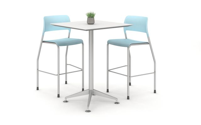 Day to Day Tall Table with Square, Reverse Knife Top and X-base in Polished Aluminum, shown with Pierce Stools