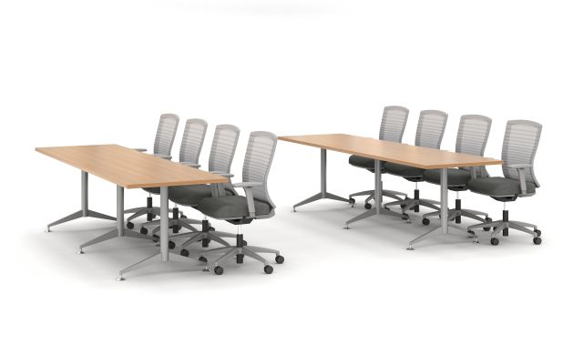 Day to Day Training Tables with 3 T-Legs, shown with Natick Seating