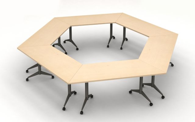 Day to Day Tables with Trapezoid Tops and Aluminum T-Legs on Casters configured in an Hexagon Shape.