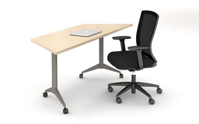 Day to Day Table with Trapezoid Top and Aluminum T-Legs with Casters. Shown with Natick Task Seating.