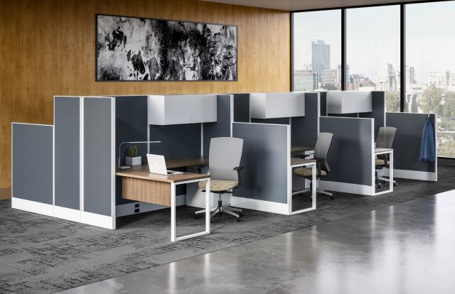 Divi Linear Open Plan Workstation with Linear Trim and High Panels for Increased Privacy, shown with O-Leg support