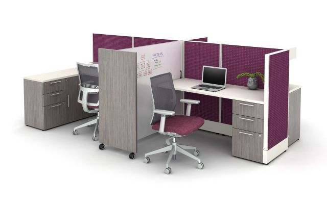 "Divi shared 50"" H workstation with tri-wheel whiteboard for division of space"