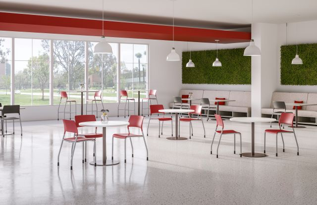 Day-to-Day Cafe with Disc Base Round Tables and Pierce Side Seating