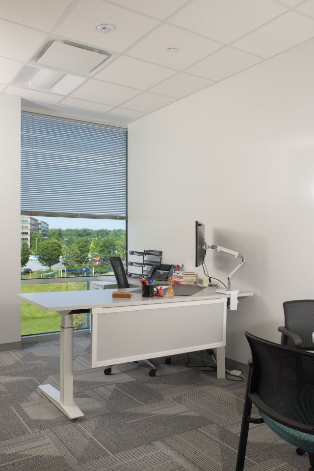 Client Private Office with Height Adjustable Table and Modesty Screen