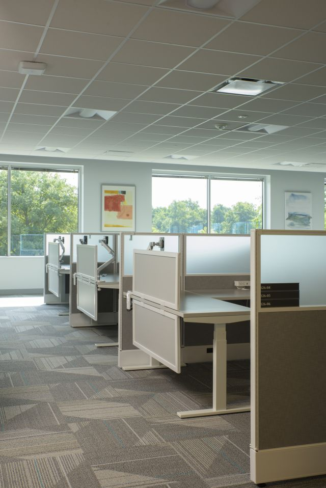 Client Space with Divid and Upmounted Screens for additional privacy