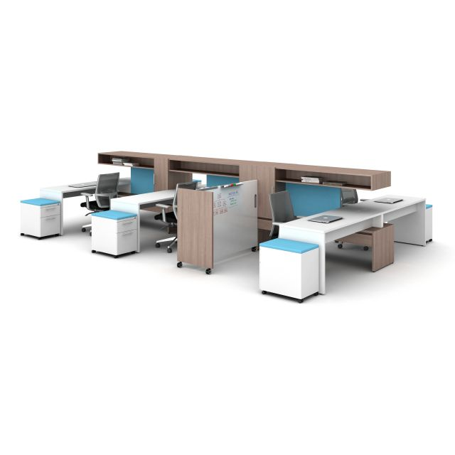 Calibrate Community Open Plan Workstations with Devens seating and Mobile Whiteboard