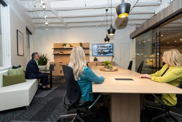 NeoCon 2021 Calibrate Conference Table and Laptop Table