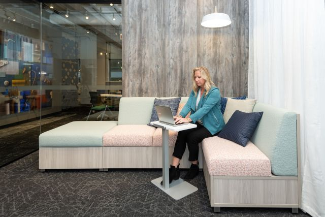 NeoCon 2021 LB Lounge seating with closed base. Shown with Laptop Table