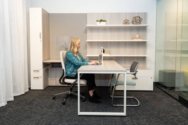 NeoCon 2021 Calibrate Casegoods Private Office with O Leg Desk and L Shelves