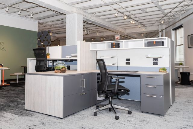 NeoCon 2021 Matrix Panel System with L Series Steel Storage and Upton all mesh seating