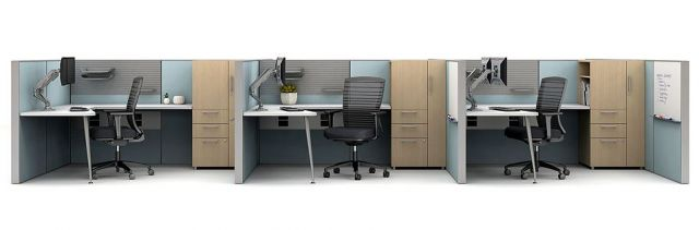 Matrix Open Plan Panel System 3 pack workstation with Calibrate Storage and Natick Seating