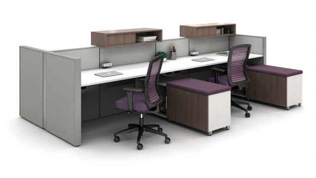 Matrix Open Plan Panel System Shared Workstation, Calibrate Storage with cushion for guest seating and Natick Task Seating