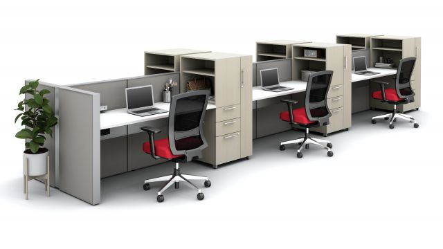 Matrix Spine Open Plan  Panel System with Calibrate Storage and Natick Seating