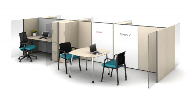 """Matrix 50"""" H Laminate Tiles with Whiteboard Tiles, Vertical Lexan Channel Screens, Calibrate Storage Towers, Day-to-Day Mobile Occasional Table, Devens and Paxton Seating"""