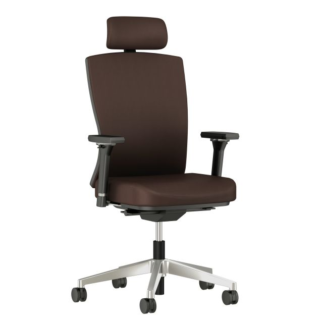 Natick Executive chair with 4D Arms and Headrest, 3/4 view