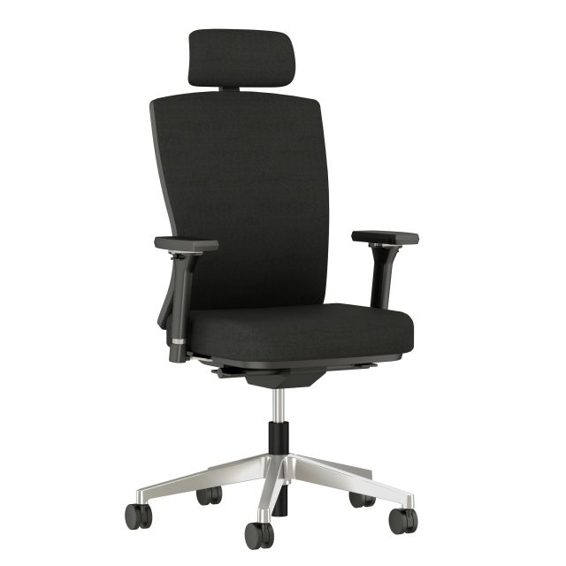 Natick midback with Headrest, 4D Arms, Fully Upholstered in alta Mirage Fabric, 3/4 view