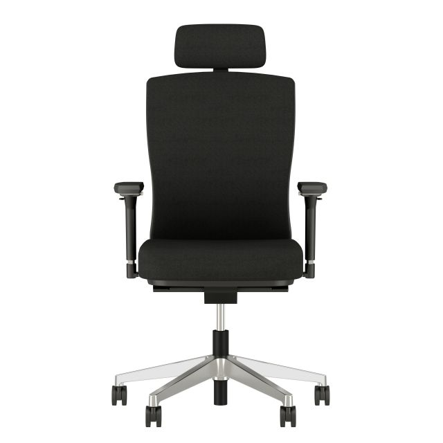 Natick Midback with Head Rest, 4D Arms, Fully Upholstered in alta Mirage Fabric, front view