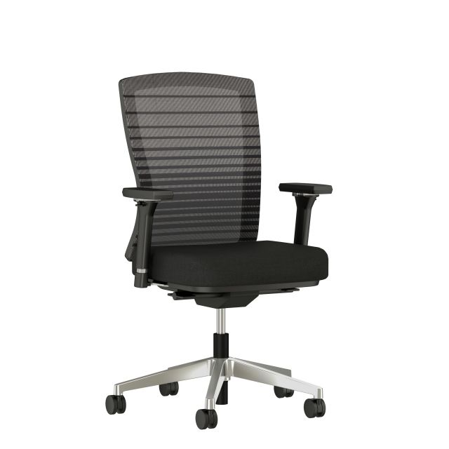Natick with Black Graduated Stripe back, Alta Mirage fabric, 4D Arms, and polished base, 3/4 view