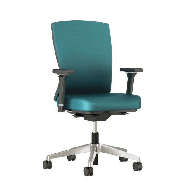 Natick with Aluminum Base, Fully Upholstered with Mirador Lake Blue Fabric; front quarter view