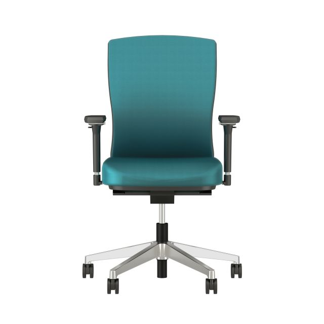 Natick with Aluminum Base, Fully Upholstered with Mirador Lake Blue Fabric; front view