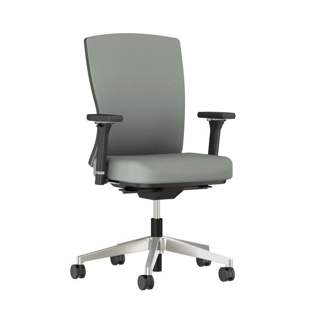 Natick Aluminum Base, Black Frame, 4D Arms, Fully Upholstered, Durdle Smoke Fabric Front Quarter View