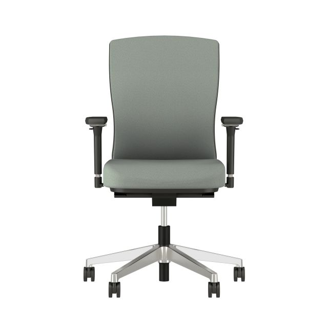 Natick Aluminum Base, Black Frame, 4D Arms, Fully Upholstered, Durdle Smoke Fabric Front View
