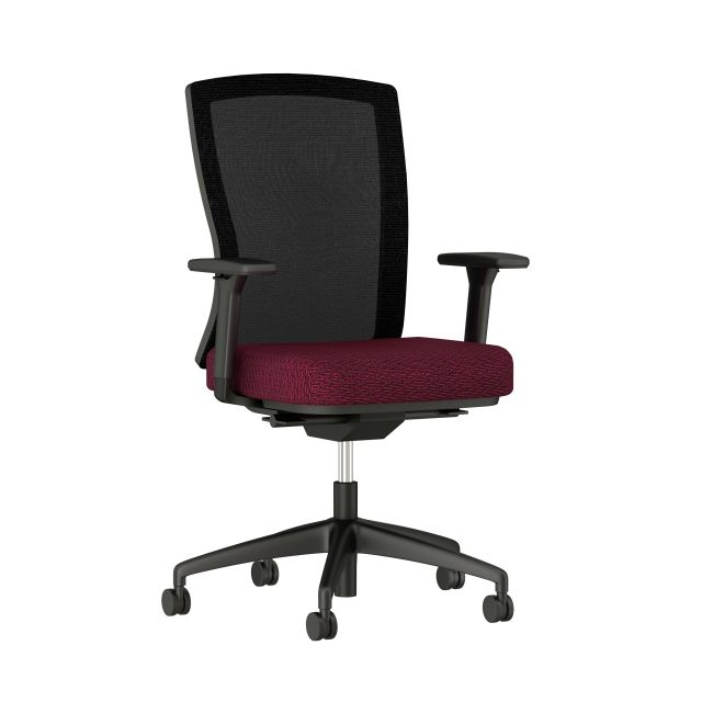 Natick Black Base and Frame, Black Mesh with Blink Ember Fabric Seat; Front Quarter View