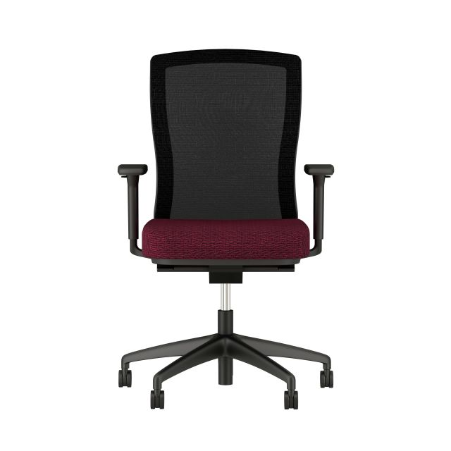 Natick Black Base and Frame, Black Mesh with Blink Ember Fabric Seat; Front View