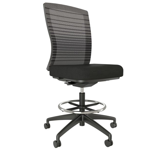 Natick Stool, Armless with Black Base and Frame, Black Graduated/Striped Mesh with Standard Black Fabric