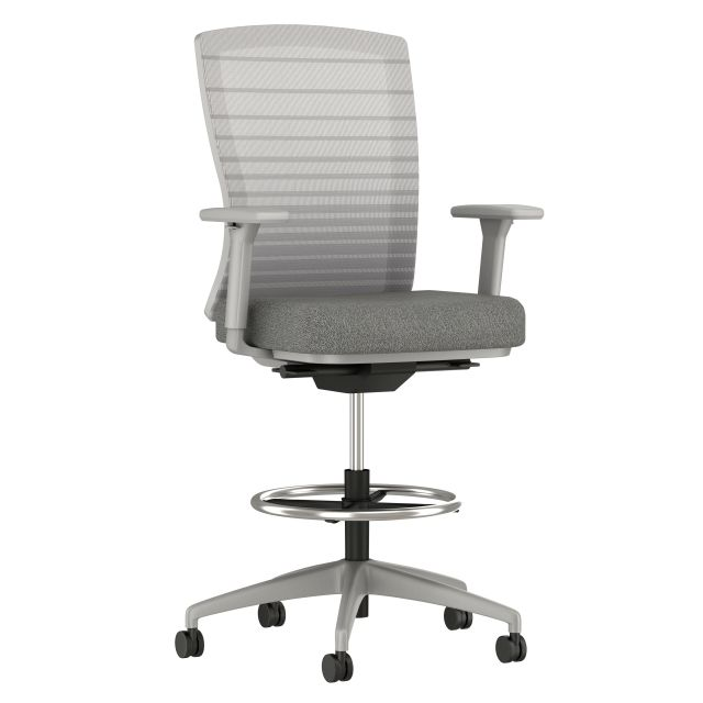 Natick Stool with Grey Base, Graduated/Striped Grey Mesh, standard Fabric Seat, 3/4 View