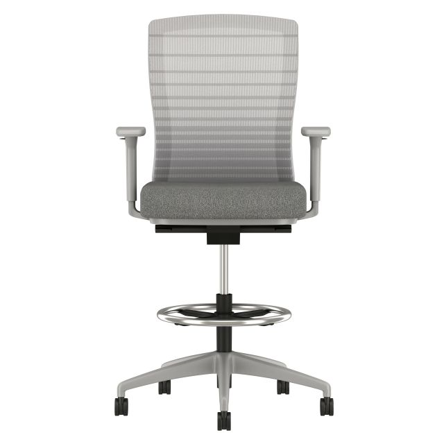 Natick Stool with Grey Base, Graduated/Striped Grey Mesh, Standard Fabric Seat, Front View