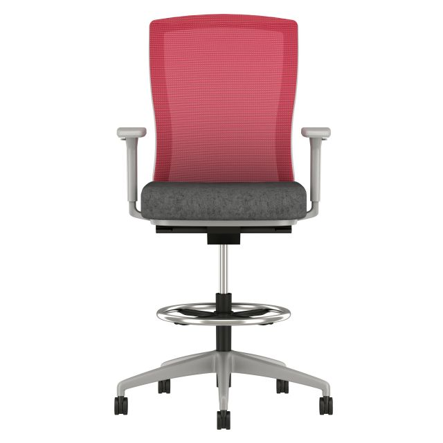 Natick Stool with Grey Base, Red Mesh, Camira Blazer Surrey Fabric Seat, Front View