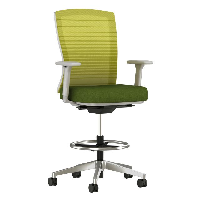 Natick Stool with Polished Aluminum Base, Green Graduated/Striped Mesh with Mayer Fedora Cactus Fabric Seat, 3/4 view