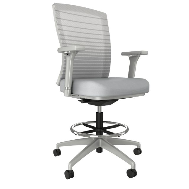 Natick Stool with Gray Base and Frame, Grey Graduated/Striped Mesh, and 4D arms