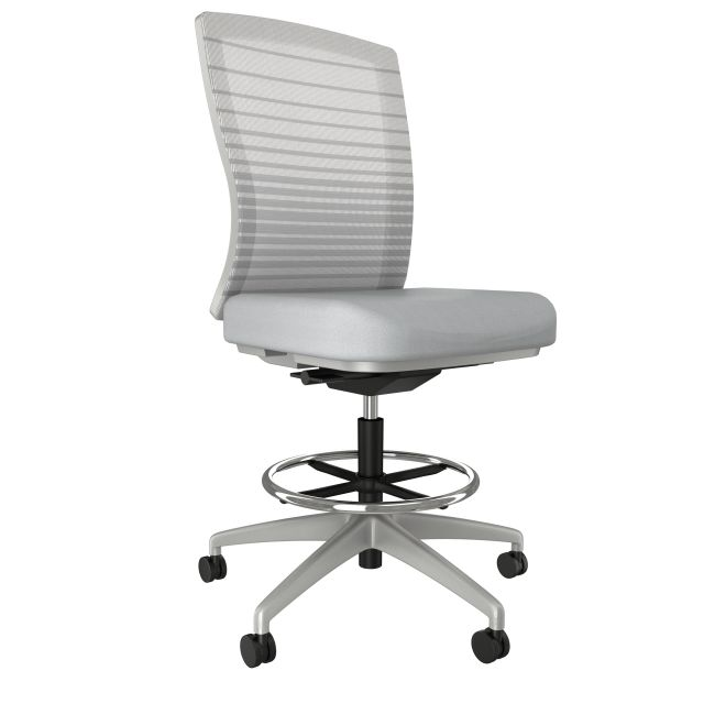 Natick Stool, Armless with Grey Base and Frame, Graduated/Striped Grey Mesh
