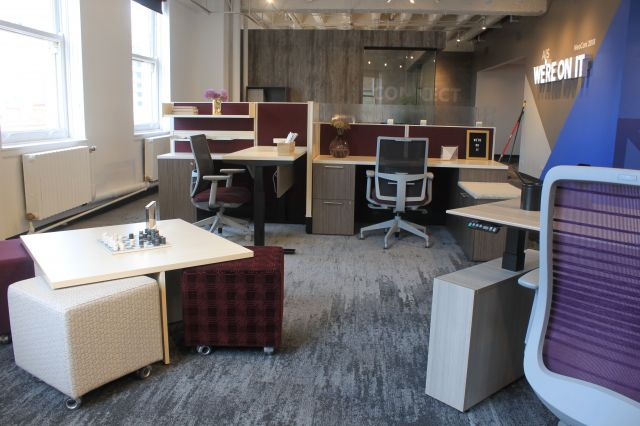 NeoCon 18 Divi Workstations with Height Adjustablility and Devens Task seating.  Also shown with Volker Cubes and Nesting Table.