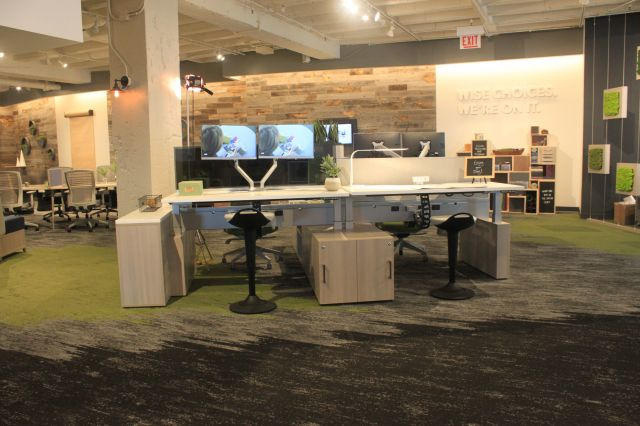 NeoCon 18 Aloft Height Adjustable Desking System with Rutland Perch Seating