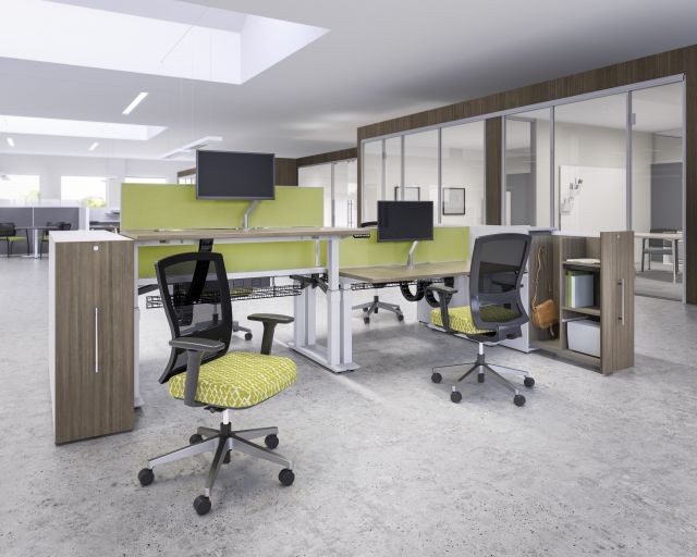 Aloft Height Adjustable Desking  and Benching Workstation with Calibrate Pullout Storage and Natick Task Seating