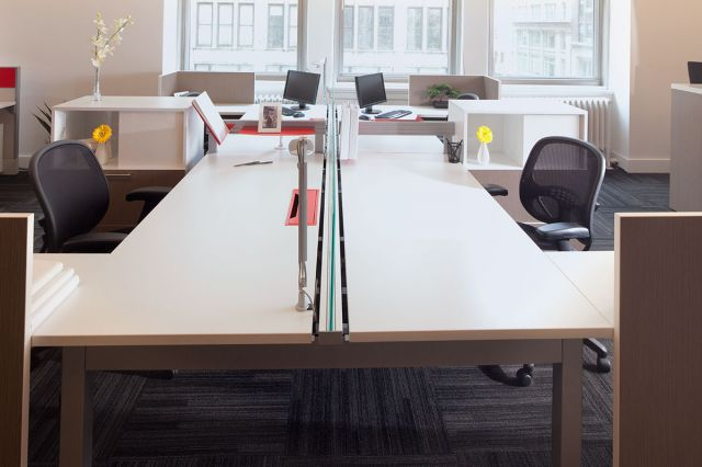 Oxygen Desking/Benching Workstations with Element Seating, side view