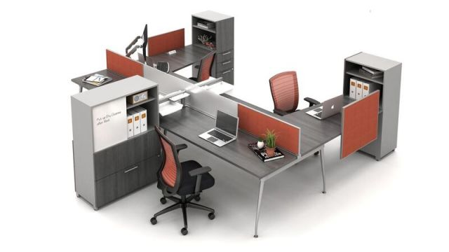 Oxygen Open Plan Benching Workstation with screens and Calibrate Storage