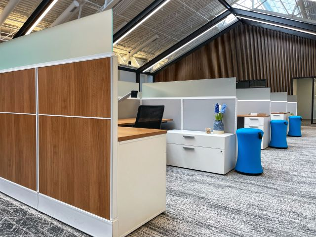Client Site Laminate and Fabric Divi panels with Calibrate Storage and Sulli Stool