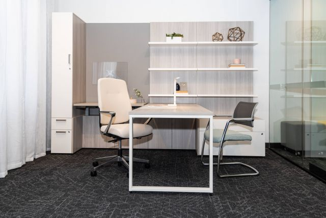 NeoCon 2021 Calibrate Casegoods Private Office with L Shelves, O Leg Desk and custom Height Adjustable Cantilevered worksurface